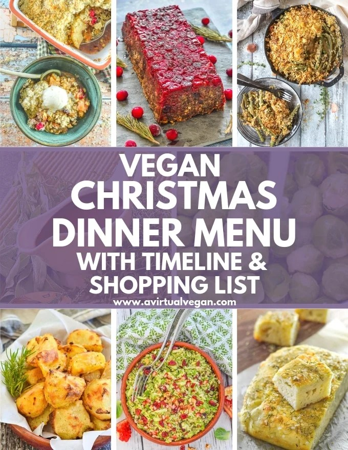 Vegan Christmas Dinner Menu with timeline and shopping list