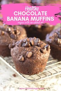 Super satisfying, insanely delicious, Healthy Chocolate Banana Muffins. Fluffy, perfectly sweet and moist, not dry and no mixer required!