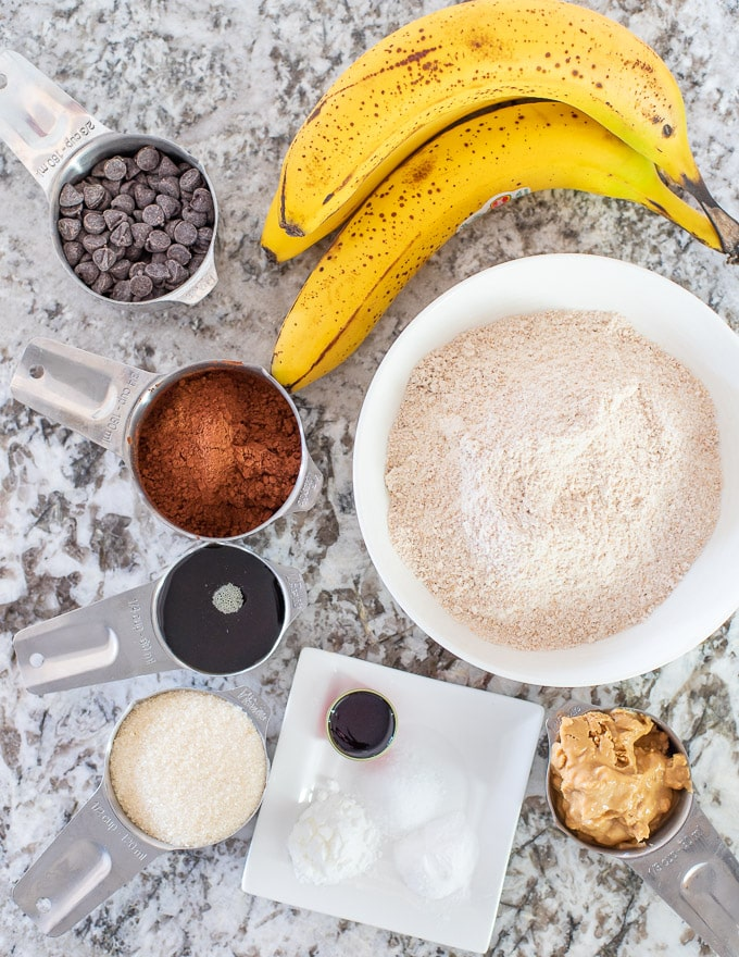 ingredients for Healthy Chocolate Banana Muffins