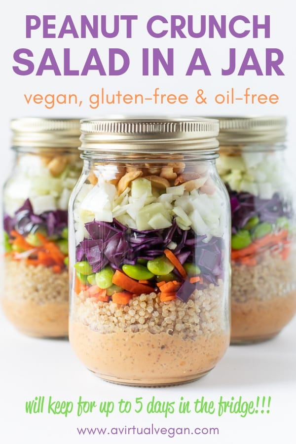 A healthy, super tasty lunch doesn't get any easier than this Peanut Crunch Salad in a Jar. Make up a bunch of them while meal prepping on Sunday and you will have grab-and-go lunches all ready in the fridge for your week ahead!
