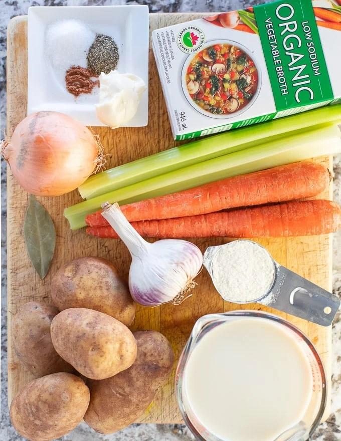 Vegan Potato Soup ingredients