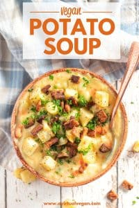 Thick, hearty and creamy Vegan Potato Soup. It's really simple to make and very budget friendly. You can enjoy it just as it is, or get crazy with toppings. I like to finish mine off with some crumbled tempeh bacon, crispy roasted potato chunks & a sprinkle of parsley for a pop of colour!