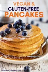 Super basic, ridiculously easy, crazy delicious Vegan Gluten Free Pancakes. They are beautifully golden, fluffy on the inside, irresistibly crunchy on the outside, with a lovely gentle sweetness. You need only 4 ingredients (plus a pinch of salt) and there is no batter resting time so they can be mixed up & on your plate in record time!
