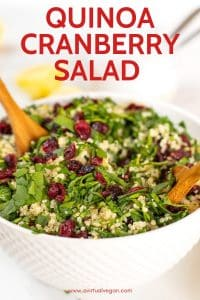 quinoa cranberry salad with lemon and spinach