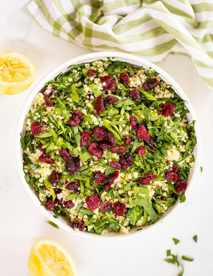 Quinoa Cranberry Salad in a bowl taken from above