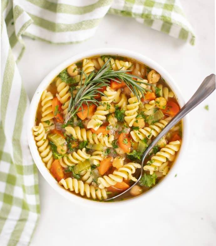 Happy Chicken Chickpe Noodle Soup - A Virtual Vegan - Vegan Comfort Cooking - Melanie McDonald