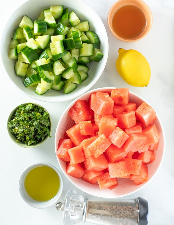 Watermelon Mint Salad ingredients