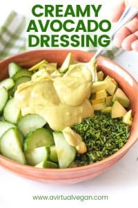 creamy avocado dressing on a salad