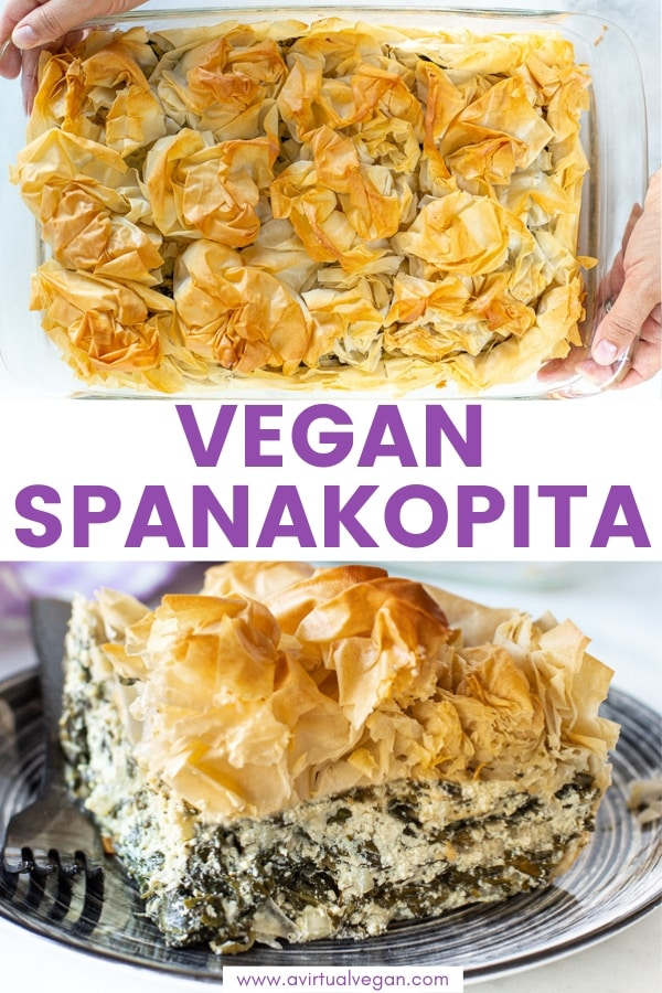 Vegan Spanakopita. My take on the great Greek spinach and feta pie! Featuring shatteringly crisp phyllo pastry, and a soft, salty, feta-cheesy, spinachy filling, all baked up to golden perfection. Comfort food at it's finest.