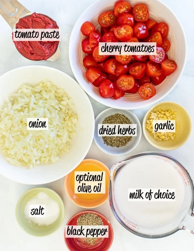 ingredients to make Cherry Tomato Sauce