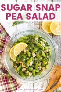 Fresh, vibrant, crunchy and delicious Sugar Snap Pea Salad with fronds of fresh dill and a super tasty, fresh and zingy lemon, mustard, garlic dressing. It feels like summer in the best possible way!
