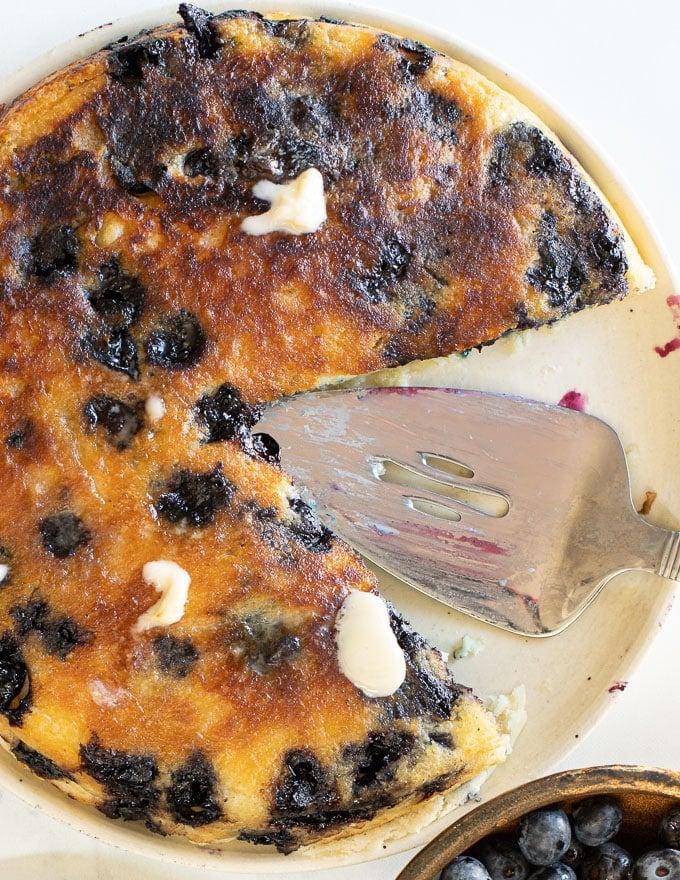photo of giant blueberry vegan pancake taken from above