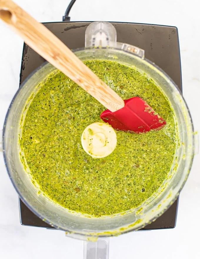 Green sauce in a blender