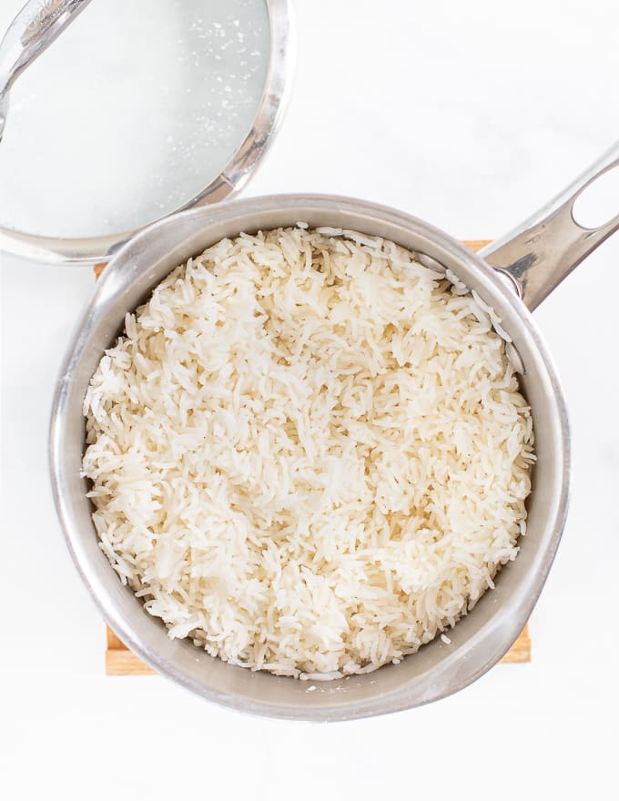 cooked rice in a pan ready to Vegan Meal Prep