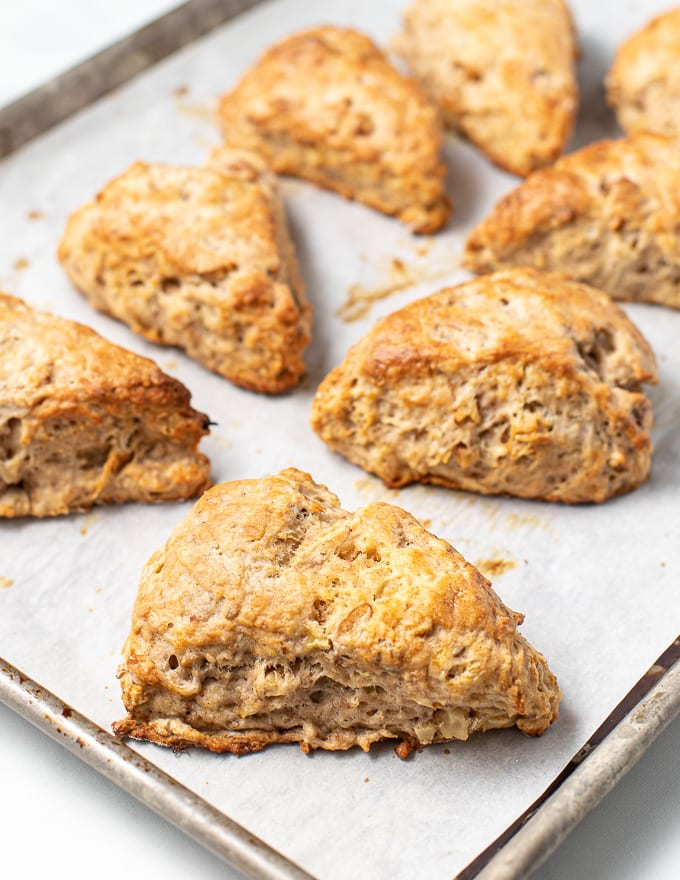 baked vegan banana scones on a baking tray
