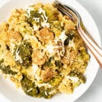 a bowl of Vegan Broccoli Rice Casserole in a white bowl