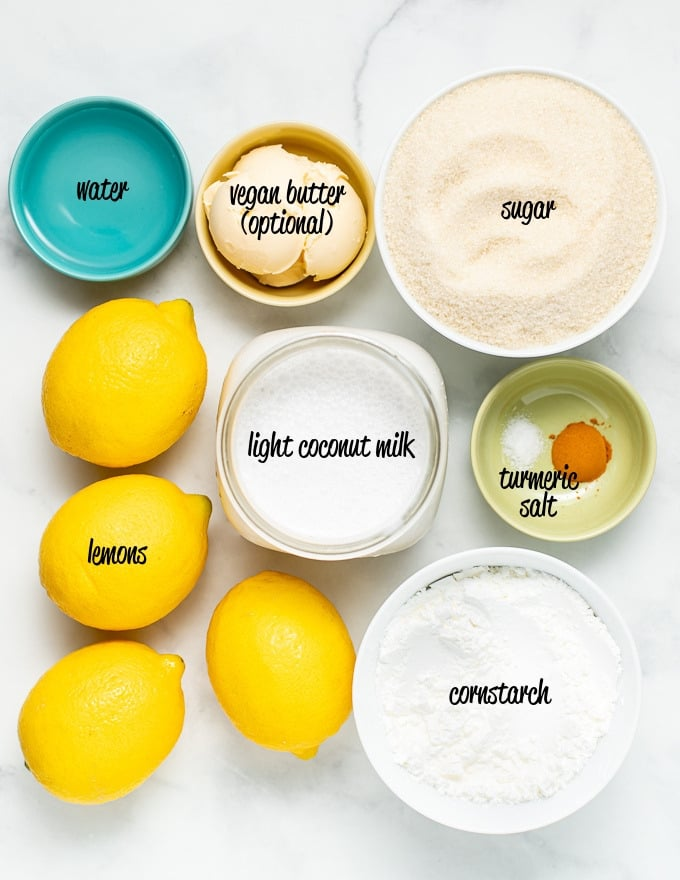 ingredients for vegan lemon curd