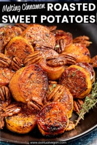 Golden, caramelized and sticky, these Melting Cinnamon Roasted Sweet Potatoes with hints of thyme are a fantastic side dish to serve with your holiday feast or Sunday roast.