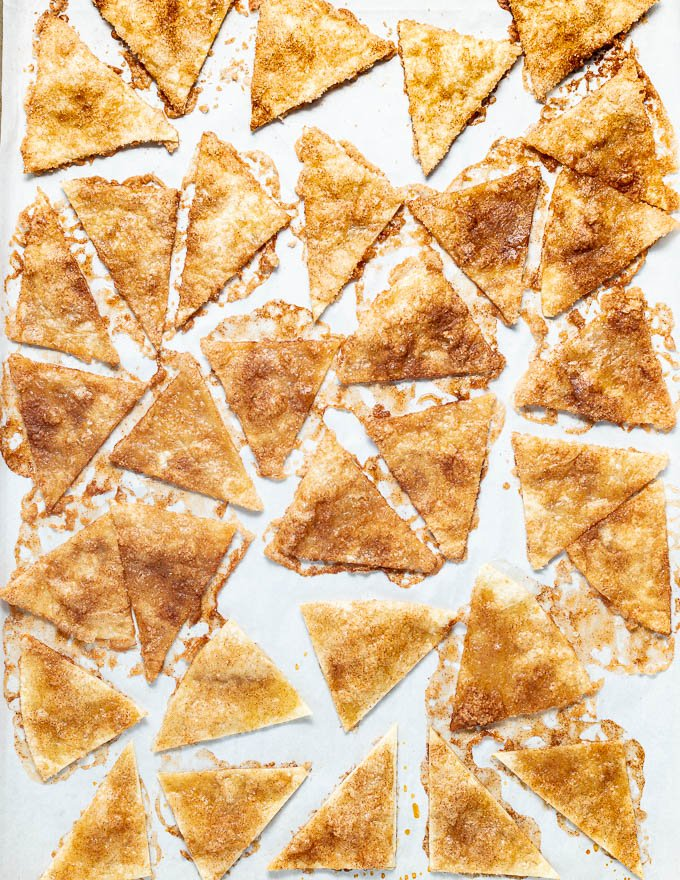 cinnamon chips on a baking tray