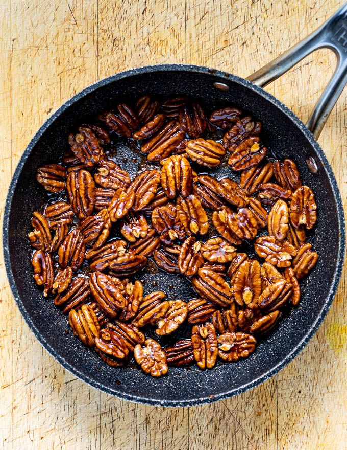 Making caramelized pecans to serve with Melting Cinnamon Roasted Sweet Potatoes