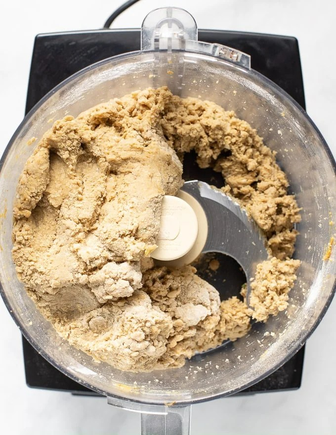 seitan dough for vegan roast in a food processor