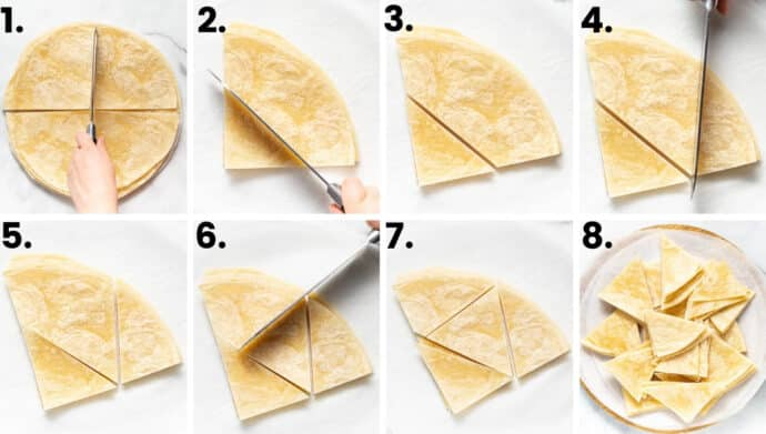 how to cut tortillas to make homemade cinnamon chips