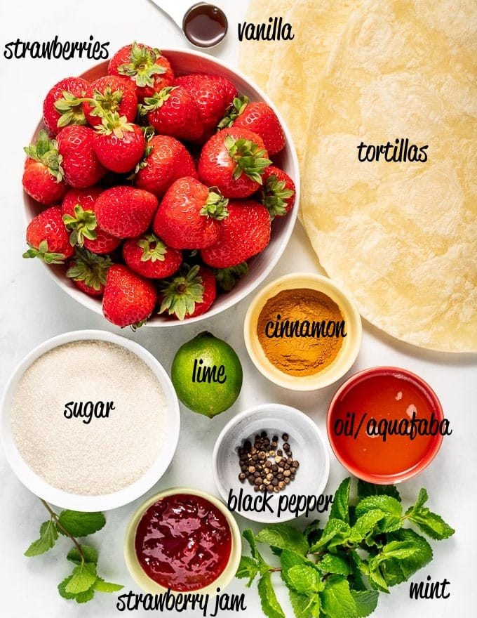 ingredients for Dessert Strawberry Salsa with Cinnamon Chips