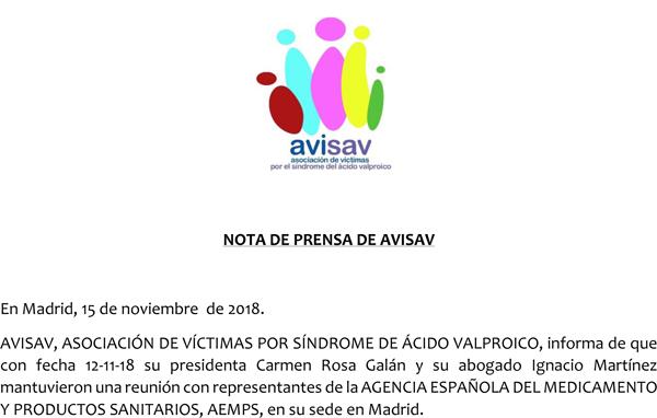 Nota de prensa AVISAV AEMPS
