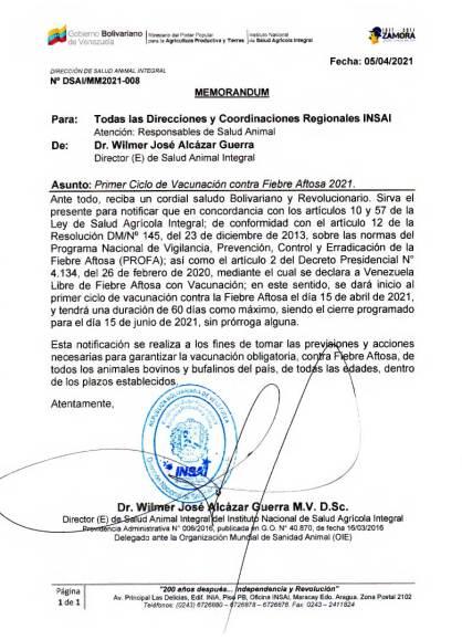 Comienza Primer Ciclo de Vacunación contra Fiebre Aftosa en Venezuela