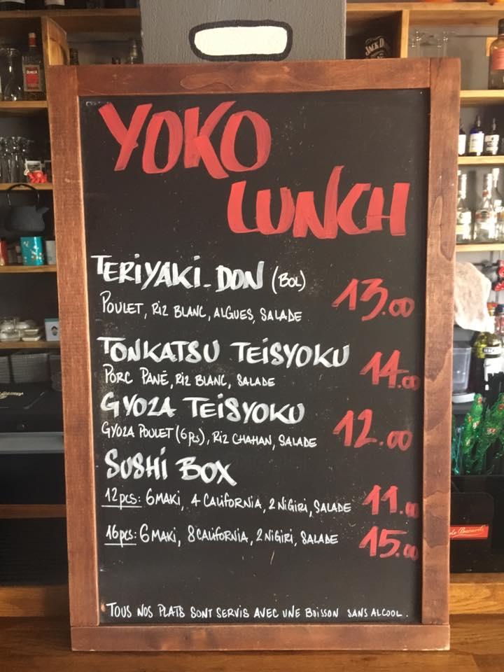 Carte midi Yoko Sushi bar Saint-Gilles la reunion 974
