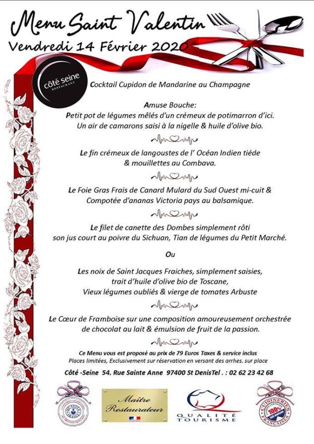 menu saint valentin restaurant coté seine saint denis la reunion
