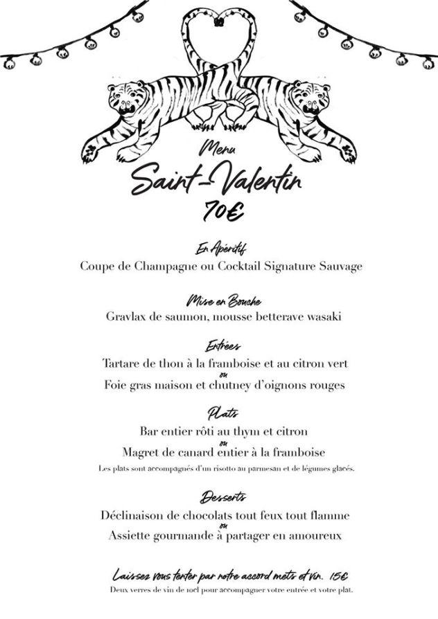 menu saint valentin restaurant villa sauvage saint pierre la reunion