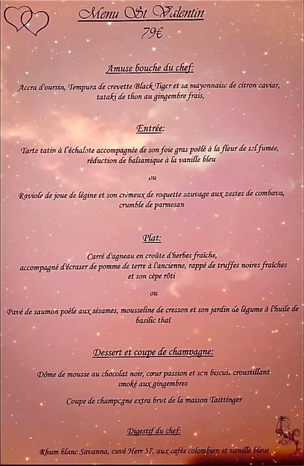 menu saint valentin 2021 restaurant ptit bistro reunionnais saint paul 974 la reunion