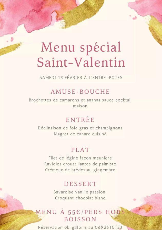 menu saint valentin 2021 restaurant saint pierre entre pote la reunion 974