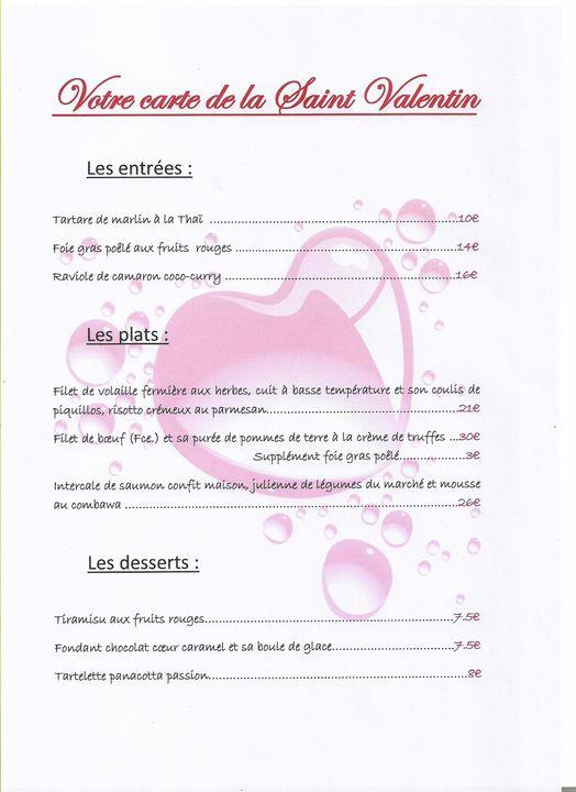 menu saint valentin restaurant etang sale moustache beret