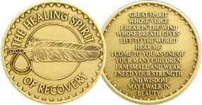 Healing Spirit of Recovery Feather Bronze Medallion