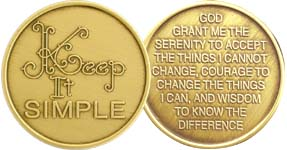 Keep It Simple with Serenity Prayer Bronze Medallion