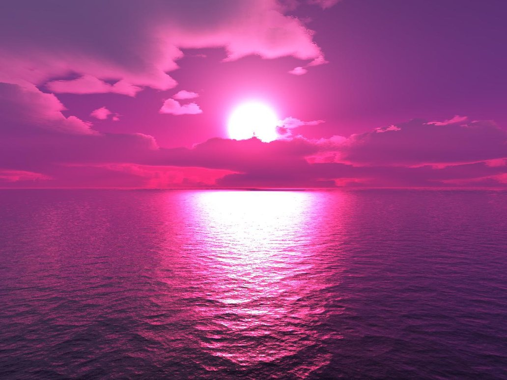 Purple Sunset Mural | Sunsets and Beaches Wallpaper | wallpaperink ...