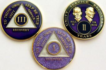 Alcoholics Anonymous 3 New Purple Medallions