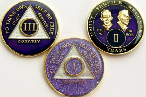 Alcoholics Anonymous 3 New Purple Medallions