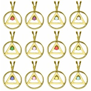 Alcoholics Anonymous 14K Gold Medium AA Symbol with 3mm Birthstones #02-1