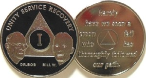 Alcoholics Anonymous Black Bill and Bob Nickel Plated Medallion