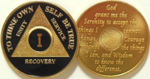 Alcoholics Anonymous Black Gold Plated Medallion