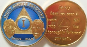 Alcoholics Anonymous Blue Bill and Bob Gold Plated Medallion