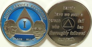 Alcoholics Anonymous Blue Bill and Bob Nickel Plated Medallion