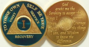 Alcoholics Anonymous Blue Gold Plated Medallion