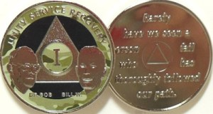 Alcoholics Anonymous Camo Bill and Bob Nickel Plated Medallion
