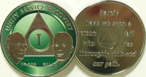 Alcoholics Anonymous Green Bill and Bob Nickel Plated Medallion