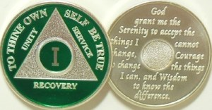 Alcoholics Anonymous Green Silver Plated Medallion