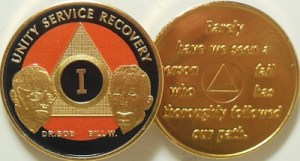 Alcoholics Anonymous Orange Bill and Bob Gold Plated Medallion